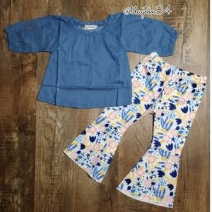 Other - New baby or toddler denim top with bell bottoms